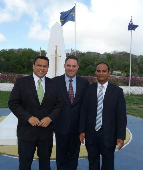 Parliamentary Secretary Marles with the President of the Republic of Nauru, His Excellency Mr Sprent